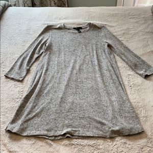 Heathered gray 3/4 length sleeve mini dress